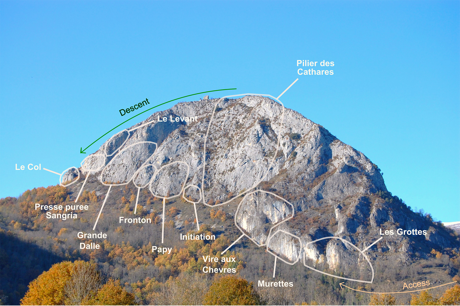 Climbing plan of Calames Mountain