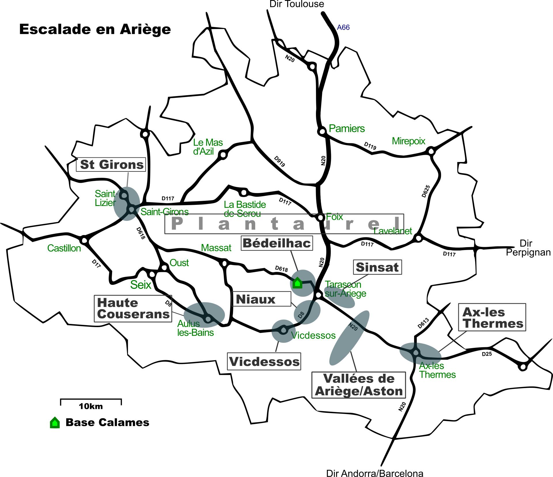 Ariege Pyrenees climbing map
